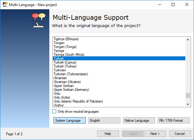 Multi-Language Dil Seçimi